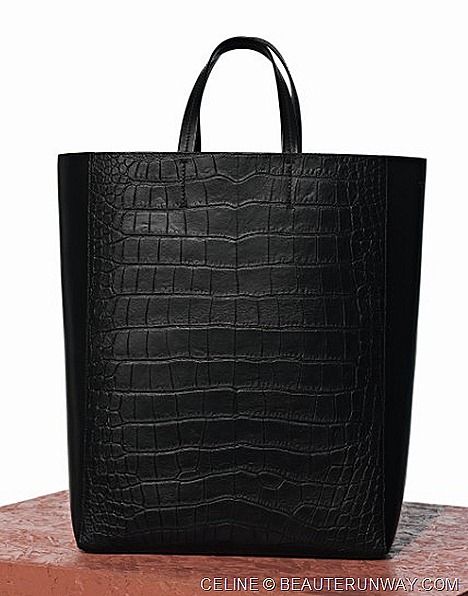 Celine Cabas Stamped Exotic Lambskin Black Bag