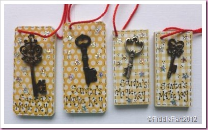 Wooden Domino Tag Santa's Magic Key