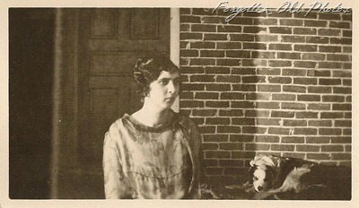 Gal with dog two Tin Ceiling