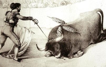 Curro Guillen descabellando un toro (lit. Miranda) 001