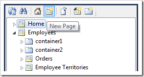 New Page icon on the Project Explorer toolbar.