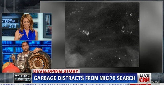 Screenshot of a CNN interview with Conservation International senior scientist M. Sanjayan. Sanjayan describes how the search for flight MH370 is made enormously more difficult by the immense quantities of garbage in the world's oceans. Photo: CNN