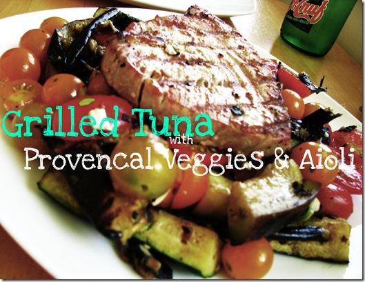 Grilled tuna with veggoes