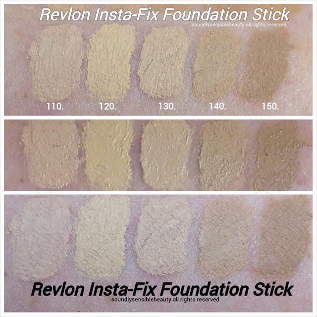 Revlon PhotoReady Insta-Fix touch-up on-the-go foundation Stick makeup; Review & Swatches of Shades 110 Ivory, 120 Vanilla, 130 Shell, 140 Nude, 150 Natural Beige