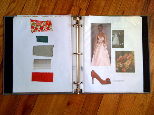 On the left are swatches that helped me build my wedding color palette. some i had purchased while in France visiting my sister who was studying there. On the right I gathered inspiration for my look (the dress, shoes, and bouquet).