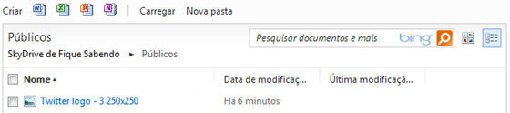 Lista de arquivos do SkyDrive