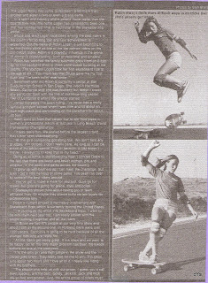 This is a article on Robin in Skateboarder. (Top) the Kick Flip and (Bottom) she is walking the board on a turn.