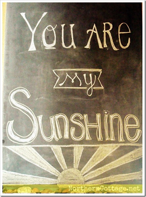 northern cottage sunshine chalkboard