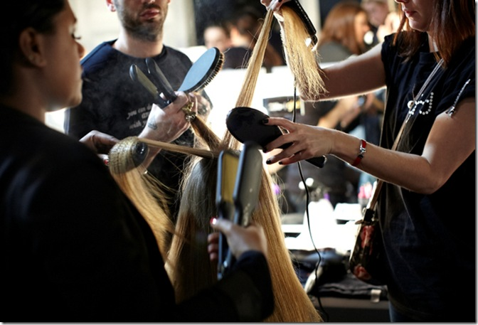 ghd&#39;s styling team backstage at David Koma AW12 at LFW 2