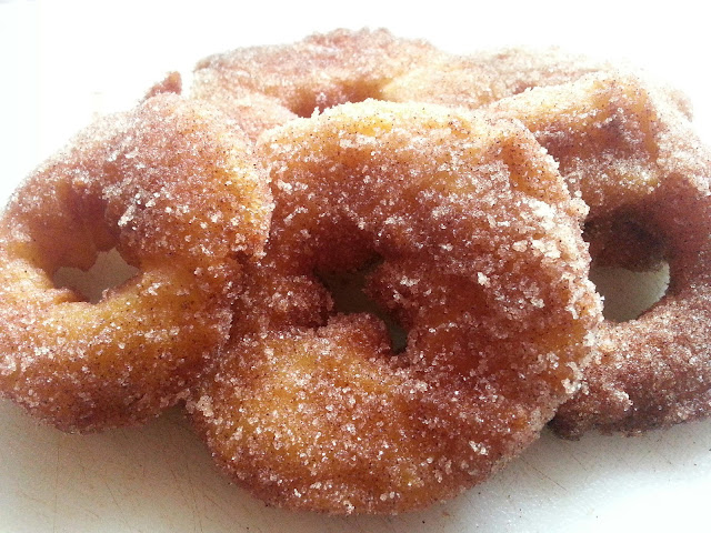 Apple Fritters, Apple Fritter Rings, Caramel Apple Fritter Rings