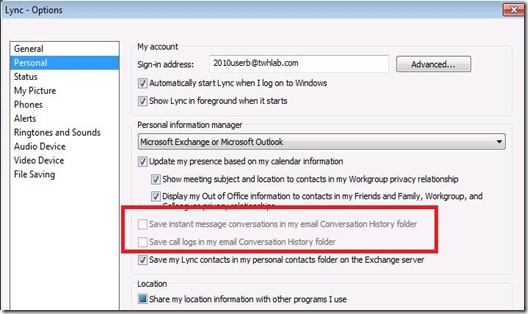 Lync Dis Arch - client option disabled - markup