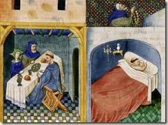 Decameron (le clerc partage un repas avec un couple et couche avec l'épouse alors que le mari prie sur la terrasse), Boccace, Decaméron, Paris, Bibliothèque de l'Arsenal, ms 5070, folio 108 verso, milieu du XVe siècle.