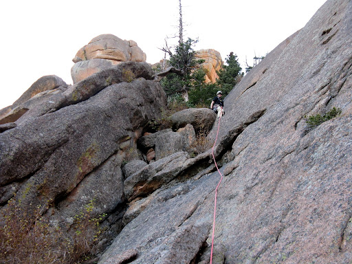 Adam at top of short 4th-5th class gully that we roped up for.