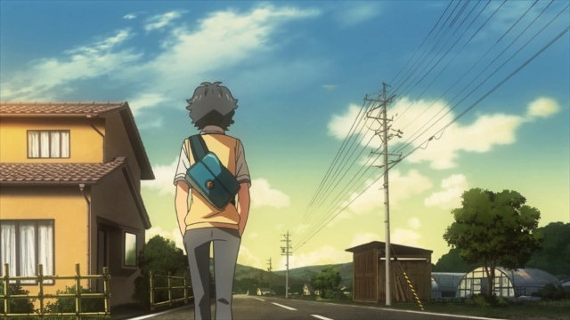 Kaito walks home along a quiet street, his back to the viewer, as the sun is just starting to set