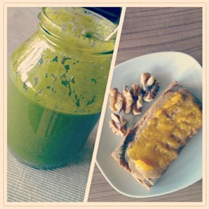 2 Snacktime Smoothie, Brot mit Nussbutter und Aprikosencreme plus Walnsse