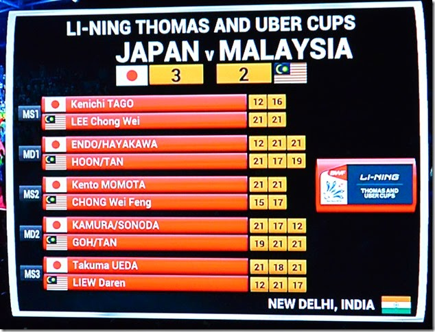 Final Results of Thomas Cup Final Japan vs Malaysia
