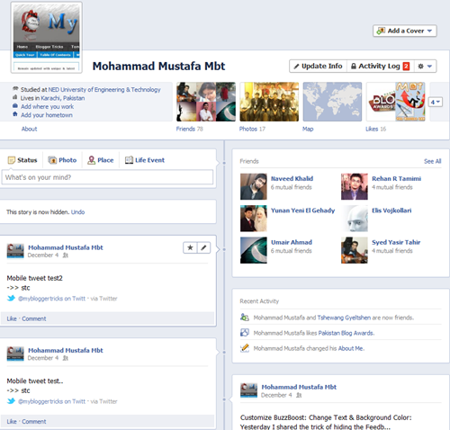 facebook timeline view Pakistan