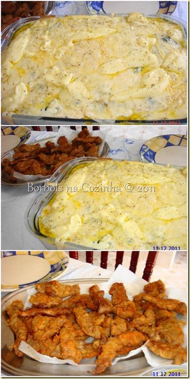 talharim 4 queijos e iscas de carne a milanesa