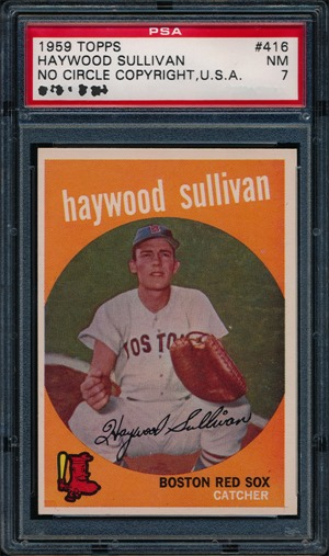 1959 Topps 416B Haywood Sullivan no circle period front