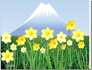 水仙と富士山