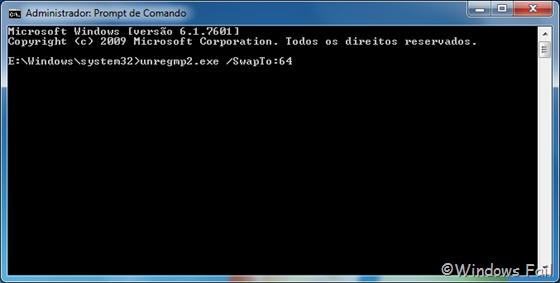 Na janela do Prompt de Comando, digite unregmp2.exe /SwapTo:64 (nota: digite exatamente como está acima) e dê Enter