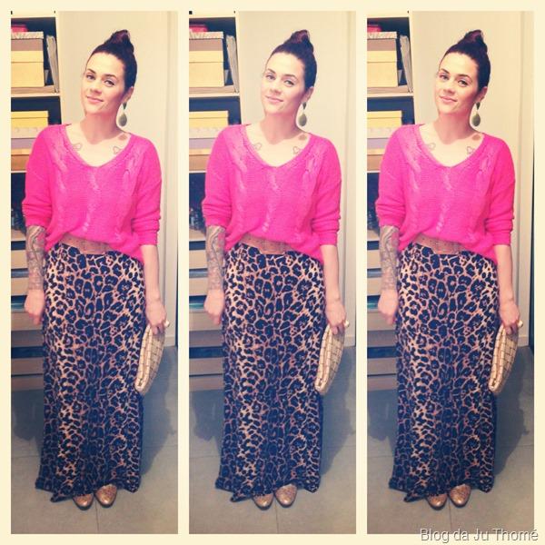 look saia estampada animal print e tricot rosa pink  (2)