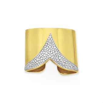A Diamond and Gold Cuff Bracelet by Cartier. Estimate: $4,000-$6,000