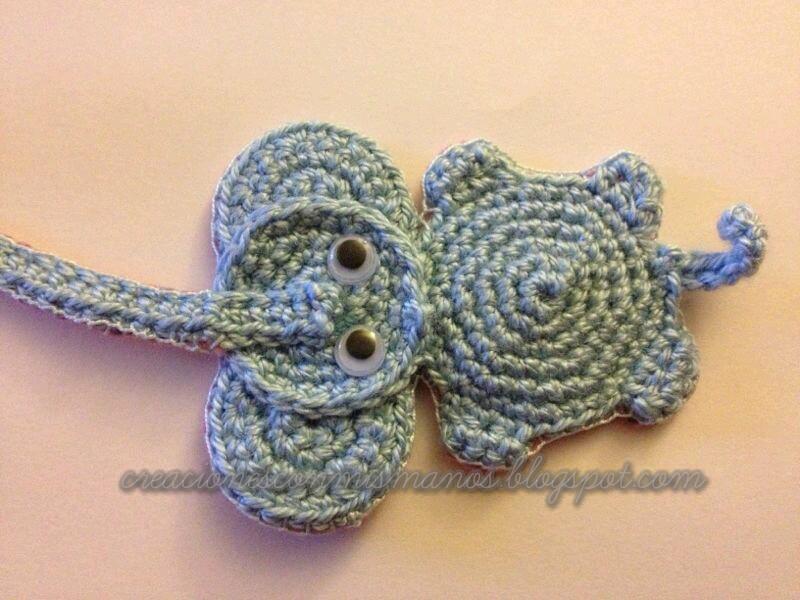 Manos de hadita: Marca páginas a crochet con forma de elefante.