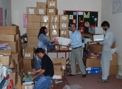 Sorting the books donated by Rotary Books for the World  (5)