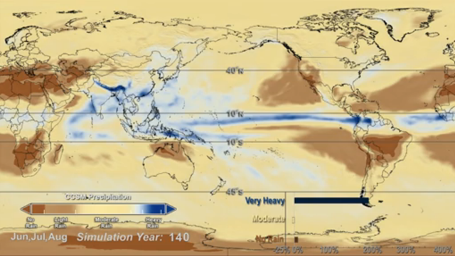 Model simulations spanning 140 years show that warming from carbon dioxide will change the frequency that regions around the planet receive no rain (brown), moderate rain (tan), and very heavy rain (blue). The occurrence of no rain and heavy rain will increase, while moderate rainfall will decrease. Graphic: NASA Goddard Space Flight Center