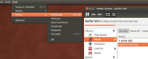 WebMenu su Rhythmbox in Ubuntu