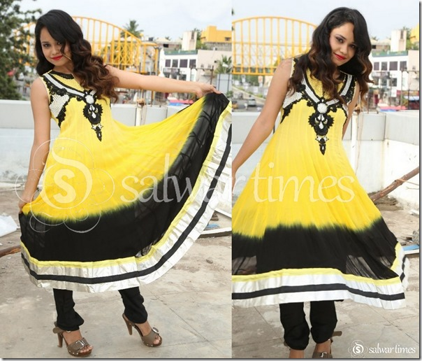 Yellow_Black_Sleeveless_Kameez