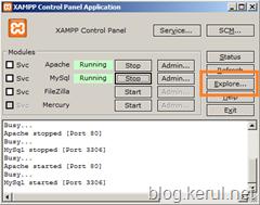 klik butang Explore pada XAMPP Control Panel