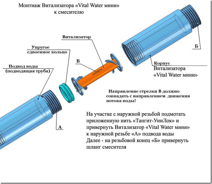 Монтаж Витализатора «ВИТАДУШ» к смесителю