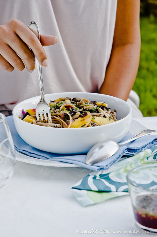 Buckwheat Linguine with Aubergine and Mango (0006) by Meeta K. Wolff