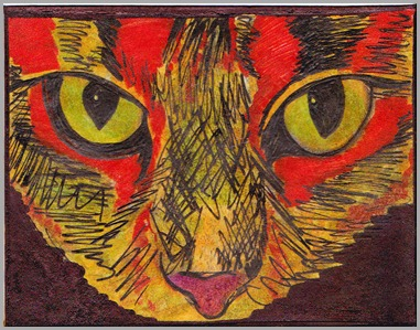 aceo abstract cat eyes