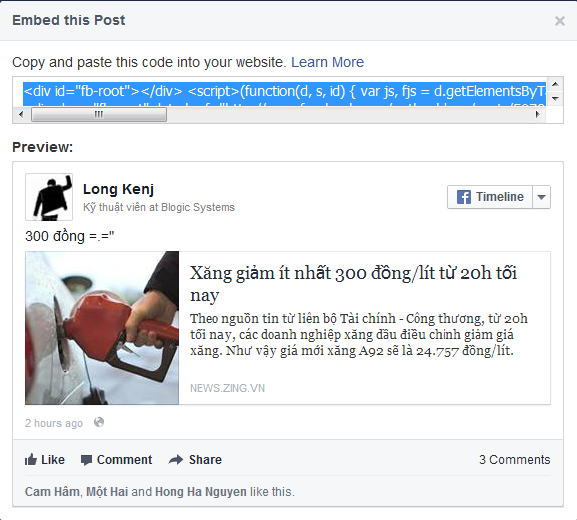 Facebook cập nhật tính năng mã nhúng bài viết vào blog, website