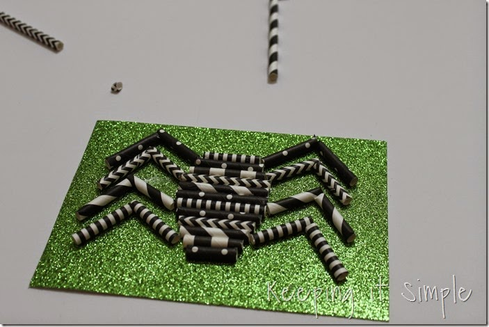Halloween decoration Paper straw spider (5)