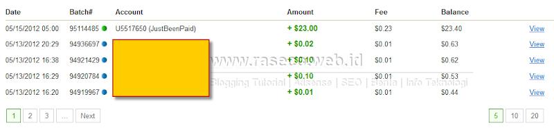 Bukti Pembayaran Justbeenpaid $23 (Pembayaran kedua)