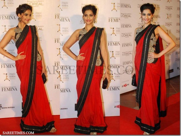 Sonam_Kapoor_Red_Saree