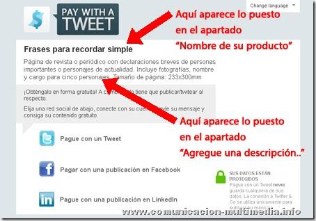 Aspecto de la consola de descarga de un link en el que se ha usado el servicio Pay with a tweet.