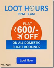 Goibibo 9PM to 2AM, 600 flat off on domestic Flight booking (Only for today)