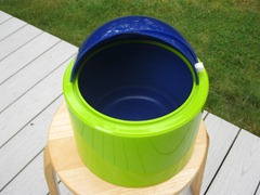 Nicholas Angelakos ice bucket, green and blue