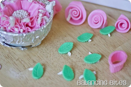 Fondant Pink Ribbon Rose and Green Leaves
