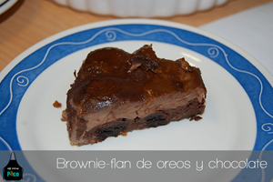 Brownie-flan de oreos y chocolate.fw