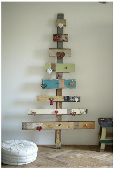 wood and wool x-mas heart tree
