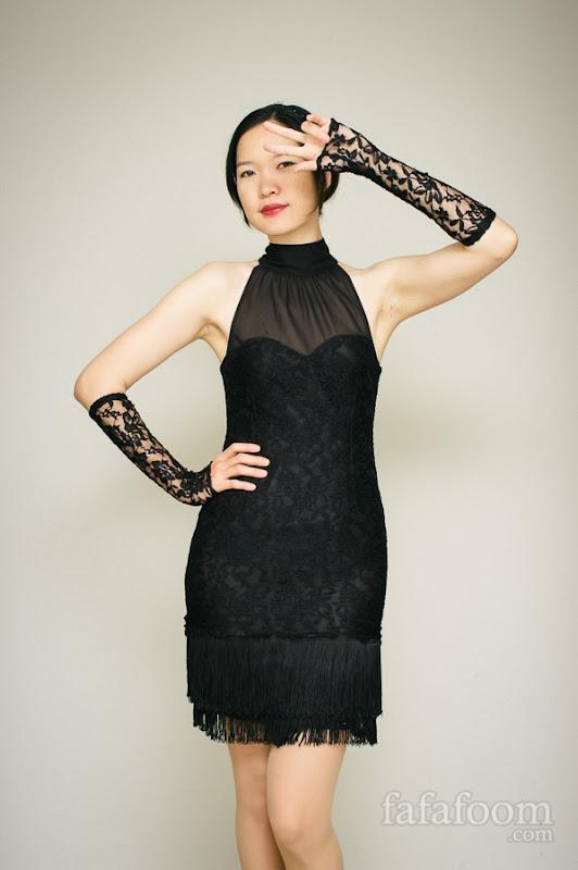 DIY Black Lace Dress with Fringe
