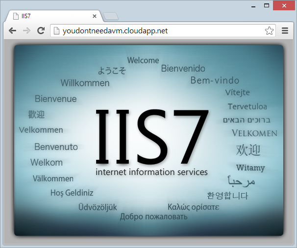 Default IIS website running on the VM