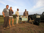 Sundowners in the bush (from left to right Dyl and Kimmy, Barry our ranger and Thulani our tracker).