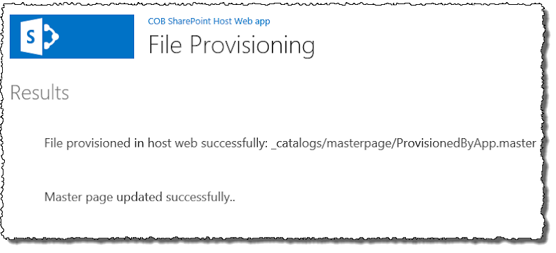File provisioning success UI
